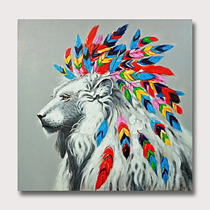 cheap Abstract Paintings-Oil Painting Hand Painted - Abstract Animals Modern Rolled Canvas
