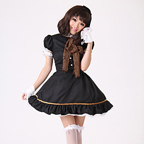 cheap Movie & TV Theme Costumes-Maid Costume Dress Cosplay Costume Women's Movie Cosplay Cosplay Halloween Black Cravat Dress Sleeves Christmas Halloween Children's Day Polyster