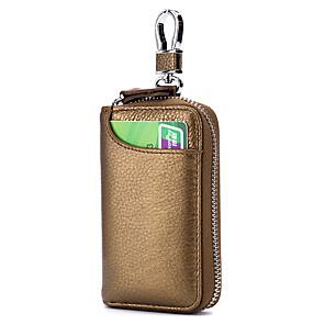 preiswerte Anhänger & Ornamente fürs Auto-multifunktionale echtes Leder Autoschlüssel Tasche Schlüsselbund Brieftasche Reißverschluss Halter Abdeckung