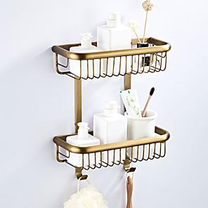 cheap Bathroom Accessory Set-Bathroom Shelf Multilayer / Premium Design Antique / Country Brass 2pc - Bathroom / Hotel bath Double Wall Mounted