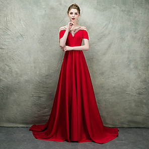 cheap Evening Dresses-A-Line Elegant & Luxurious Formal Evening Dress Boat Neck Short Sleeve Sweep / Brush Train Polyester with Sash / Ribbon Beading 2020
