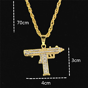cheap Pendant Necklaces-Men's Women's Gold Crystal Pendant Necklace Statement Necklace Cuban Link Letter Statement Punk Trendy Rock Zircon Chrome 24K Gold Plated Gold 70 cm Necklace Jewelry 1pc For Carnival Street Club