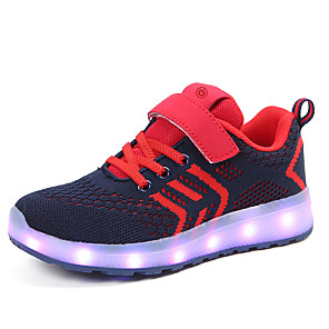 cheap Wedding Shoes-Boys' / Girls' LED / LED Shoes / USB Charging Knit / Faux Leather Sneakers LED Shoes Little Kids(4-7ys) / Big Kids(7years +) Walking Shoes LED / Luminous Black / Red / Pink Spring / Summer / Rubber