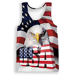 cheap Ethnic & Cultural Costumes-Adults' Men's Cosplay American Flag Cosplay Costume Vest For Halloween Daily Wear Polyster Independence Day Vest