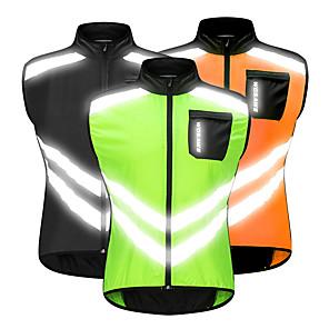 cheap Cycling Jersey & Shorts / Pants Sets-WOSAWE Men's Sleeveless Cycling Vest Orange Green Black Bike Vest / Gilet Windbreaker Jersey Mountain Bike MTB Road Bike Cycling Windproof Reflective Strips Back Pocket Sports Clothing Apparel