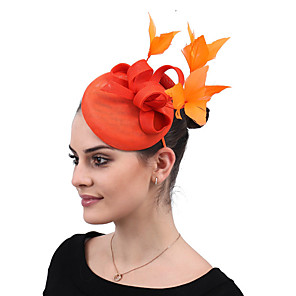 cheap Fascinators-Linen / Cotton Blend Fascinators / Flowers / Headdress with Feather / Floral 1 Party / Evening / Outdoor Headpiece