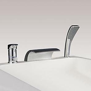 cheap Bathtub Faucets-Bathtub Faucet - Contemporary Chrome Widespread Ceramic Valve Bath Shower Mixer Taps