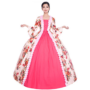 cheap Historical & Vintage Costumes-Princess Maria Antonietta Floral Style Rococo Victorian Renaissance Dress Party Costume Masquerade Women's Lace Costume Pink Vintage Cosplay Christmas Halloween Party / Evening 3/4 Length Sleeve