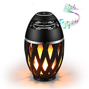 cheap Bathroom Gadgets-1pc Bluetooth Speaker USB Led Flame Lights Outdoor Portable Led Flame Atmosphere Lamp Stereo Speaker Outdoor Camping Woofer Mini