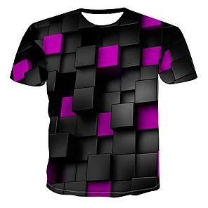 cheap Building Blocks-Men's Graphic Print T-shirt Daily Casual Round Neck Blue / Purple / Yellow / Light Green / Pink / Green / Summer / Short Sleeve