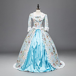 cheap Historical & Vintage Costumes-Princess Maria Antonietta Floral Style Rococo Victorian Renaissance Dress Party Costume Masquerade Women's Lace Costume Blue Vintage Cosplay Christmas Halloween Party / Evening 3/4 Length Sleeve Long