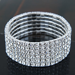 cheap Bracelets-Women's Bracelet Bangles Tennis Bracelet Ladies Vintage Party Bridal Iced Out Rhinestone Bracelet Jewelry Silver For Christmas Gifts Wedding Dailywear Masquerade Engagement Party Prom