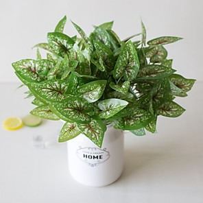 cheap Artificial Plants-1Pc Simple Creative Simulation Plant Potted Green Leaf Engineering Green Leaf 7 Fork Red Pattern White Point Fairy Garden Office Living Room Study Decoration Green Plant