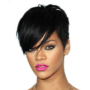 cheap Synthetic Trendy Wigs-Synthetic Wig Natural Straight Middle Part Wig Short Dark Brown Synthetic Hair 4 inch Women's Party Black