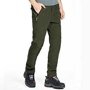 cheap Hiking Trousers & Shorts-Men's Hiking Pants Softshell Pants Solid Color Winter Outdoor Waterproof Windproof Fleece Lining Breathable Elastane Pants / Trousers Bottoms Dark Grey Black Army Green Dark Navy Hunting Ski / Warm