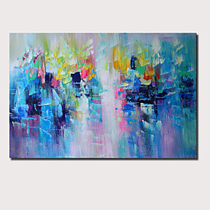 cheap Floral/Botanical Paintings-Oil Painting Hand Painted - Abstract Landscape Comtemporary Modern Stretched Canvas