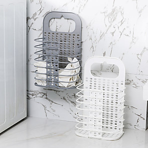 cheap Bathroom Gadgets-Wall-mounted Collapsible Hamper Plastic Wall Storage Basket Laundry Basket Dirty Clothes Storage