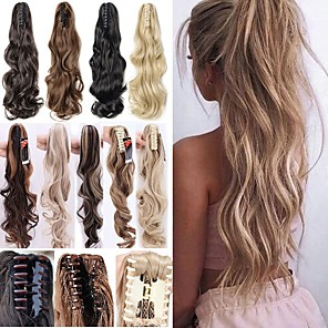cheap Tattoo Stickers-Angelaicos Women Long Wavy Black Brown Blonde Natural Hairpiece Claw Clip on Hair Extension Ponytail