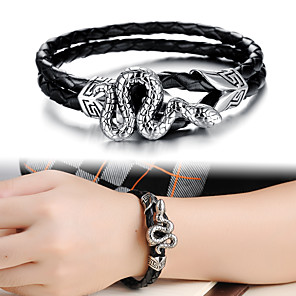 cheap Pendant Necklaces-Men's Leather Bracelet Loom Bracelet Rope Snake Skull Statement Punk Trendy Rock Gothic Titanium Steel Bracelet Jewelry Silver For Party Gift Daily Carnival Club