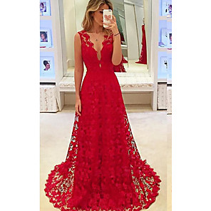cheap Evening Dresses-A-Line Cut Out Red Engagement Formal Evening Dress V Neck Sleeveless Court Train Chiffon Lace with Appliques 2020