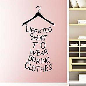 cheap Wall Stickers-Characters Wall Stickers Words & Quotes Wall Stickers Decorative Wall Stickers, PVC Home Decoration Wall Decal Wall / Window Decoration 1pc / Removable