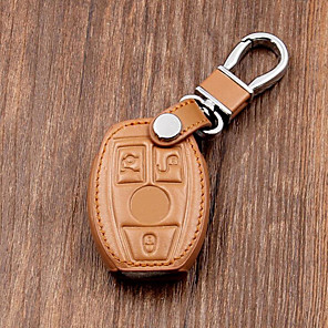 cheap Car Body Decoration & Protection-Leather Car Key Case/Bag Cover Holder For Mercedes Remote Smart Key 3 4 Button
