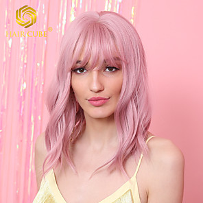 cheap Synthetic Lace Wigs-Synthetic Wig kinky Straight Natural Wave Bob Asymmetrical Neat Bang Wig Pink Medium Length Pink Synthetic Hair 12 inch Women's Synthetic Lovely Natural Hairline Pink HAIR CUBE / African American Wig