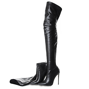 cheap Women's Boots-Women's Heels Party Heels Stiletto Heel Pointed Toe Faux Leather Over The Knee Boots Classic / British Spring &  Fall / Fall & Winter Black / Black / White / Party & Evening / Daily / Party & Evening