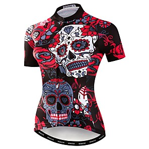 cheap Cycling Jersey & Shorts / Pants Sets-21Grams Sugar Skull Women's Short Sleeve Cycling Jersey - Red Bike Jersey Top Breathable Moisture Wicking Quick Dry Sports Polyester Elastane Terylene Mountain Bike MTB Road Bike Cycling Clothing