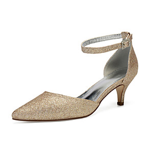 cheap Wedding Shoes-Women's Wedding Shoes Sequins Kitten Heel Pointed Toe Rhinestone / Sequin Synthetics Vintage / British Spring & Summer Dark Blue / Champagne / Ivory / Party & Evening