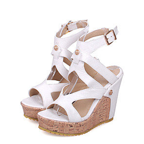 cheap Women's Heels-Women's Sandals Spring / Summer Wedge Heel Peep Toe Sexy Sweet Preppy Daily Party & Evening Buckle Solid Colored PU White / Black