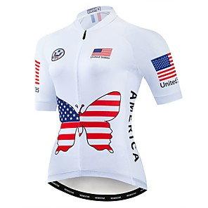 cheap Cycling Jerseys-21Grams Women's Short Sleeve Cycling Jersey Polyester Elastane Red Butterfly American / USA National Flag Bike Jersey Top Mountain Bike MTB Road Bike Cycling Breathable Quick Dry Moisture Wicking