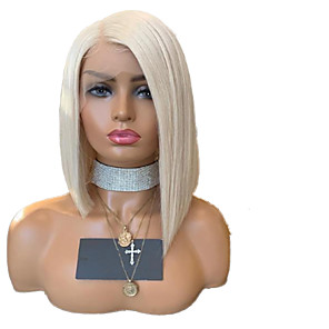 cheap Human Hair Capless Wigs-Synthetic Lace Front Wig Straight Side Part Lace Front Wig Blonde Short Platinum Blonde Synthetic Hair 10-14 inch Women's Adjustable Heat Resistant Party Blonde