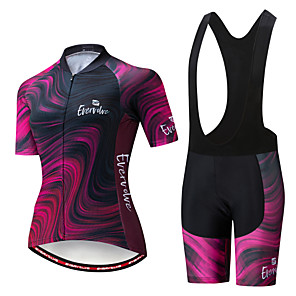 cheap Wetsuits, Diving Suits & Rash Guard Shirts-EVERVOLVE Women's Short Sleeve Cycling Jersey with Bib Shorts Black White Bike Clothing Suit Breathable Moisture Wicking Quick Dry Anatomic Design Sports Cotton Lycra Geometry Mountain Bike MTB Road