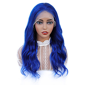 cheap Synthetic Lace Wigs-Synthetic Lace Front Wig Wavy Middle Part Lace Front Wig Pink Long Pink Blue Synthetic Hair 18-24 inch Women's Adjustable Heat Resistant Party Blue Pink