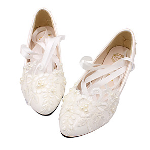cheap Wedding Shoes-Women's Wedding Shoes Lace up Flat Heel Round Toe PU Casual Summer White