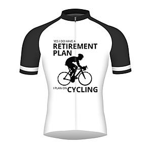 cheap Cycling Jerseys-21Grams Retirement Plan Men's Short Sleeve Cycling Jersey - Black / White Bike Jersey Top Breathable Quick Dry Reflective Strips Sports 100% Polyester Mountain Bike MTB Road Bike Cycling Clothing