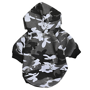 cheap Dog Clothes-Dog Sweater Hoodie Sweatshirt Camouflage Simple Style Casual / Sporty Dog Clothes Black Costume Fabric Fleece XS S M L