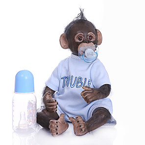 cheap Reborn Doll-NPKCOLLECTION 18 inch Reborn Doll Orangutan Cute Hand Made Artificial Implantation Brown Eyes Cloth 3/4 Silicone Limbs and Cotton Filled Body with Clothes and Accessories for Girls' Birthday and
