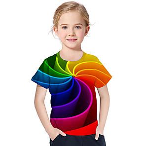 cheap Wind Instruments-Kids Toddler Girls' Active Basic Geometric Print Color Block Print Short Sleeve Tee Rainbow