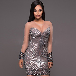 cheap Historical & Vintage Costumes-Diva Disco 1980s Dress Women's Sequins Costume Silver Vintage Cosplay Prom Long Sleeve Above Knee Sheath / Column