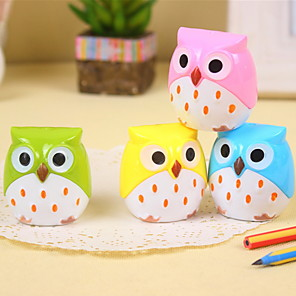 cheap Office Supplies & Decorations-1PC Kawaii Owl Pencil Sharpener Cutter Knife Stationery Student Double Control Cartoon Pencil Sharpener