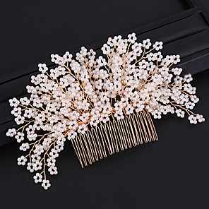 cheap Hair Jewelry-Women's Hair Combs For Wedding Party Wedding Geometrical Imitation Pearl Alloy Gold 1