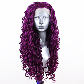 cheap Synthetic Lace Wigs-Synthetic Lace Front Wig Curly Free Part Lace Front Wig Blonde Long fluorescent green Black#1B Light Blonde Purple Red Synthetic Hair 20-26 inch Women's Adjustable Heat Resistant Party Blonde Purple