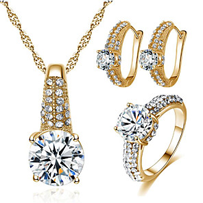 cheap Pearl Necklaces-Women's Cubic Zirconia Bridal Jewelry Sets Geometrical Joy Stylish Gold Plated Earrings Jewelry Gold / Silver For Party Daily 1 set