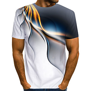 cheap Doorbell Systems-Men's Daily T-shirt Abstract Graphic Print Short Sleeve Tops Streetwear Exaggerated Round Neck White Blue Purple / Summer