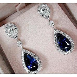 cheap Earrings-Women's AAA Cubic Zirconia Earrings Vintage Style Drop Luxury Dangling Imitation Diamond Earrings Jewelry Dark Blue For Wedding Party Engagement 1 Pair