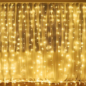 cheap LED String Lights-3Mx2M 240LED WhiteWarm WhiteMulticolor Light Romantic Christmas Wedding Outdoor Decoration Curtain String Light