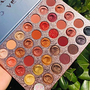 cheap Eyeshadows-Amazing Mermaid Shell Eye shadow Palette 35 Color Shimmer Matte Nude Pigmented Diamond eyeshadow makeup