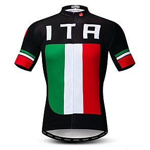 cheap Triathlon Clothing-21Grams Men's Short Sleeve Cycling Jersey Polyester Elastane Lycra Rough Black Italy National Flag Bike Jersey Top Mountain Bike MTB Road Bike Cycling Breathable Quick Dry Moisture Wicking Sports